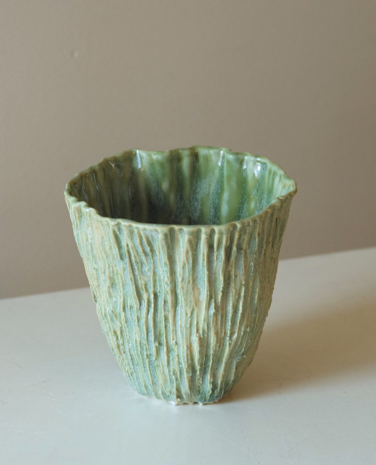 Rocks Tall Cup in Green Lana Kova Porcelain